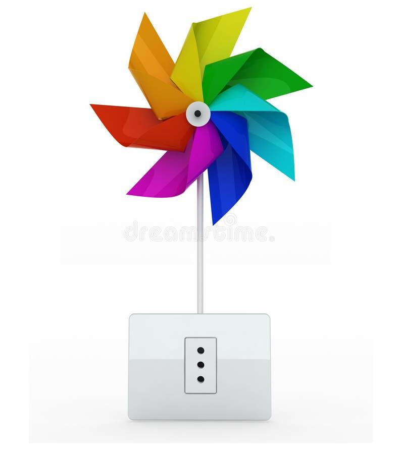 Multicolor pinwheel nad energii prymką ilustracja wektor