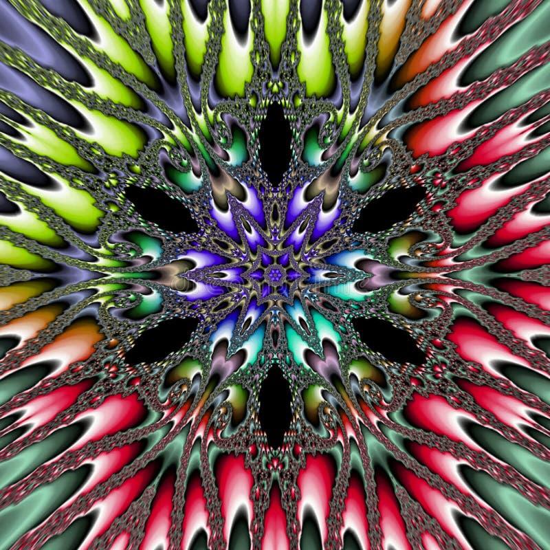 Multicolor planetoid gwiazdy mandala kwiatu Wibrujący kalejdoskop, ornamentacyjny wzór w spektralnych kolorach royalty ilustracja