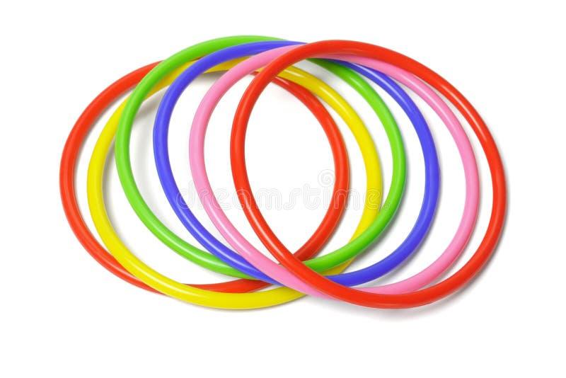 Multicolor plastic bangles royalty free stock photos