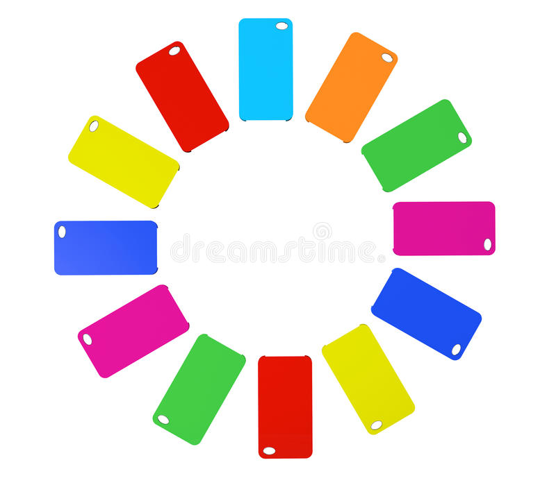 MultiColor plastic mobile phone cases. On a white background stock photography