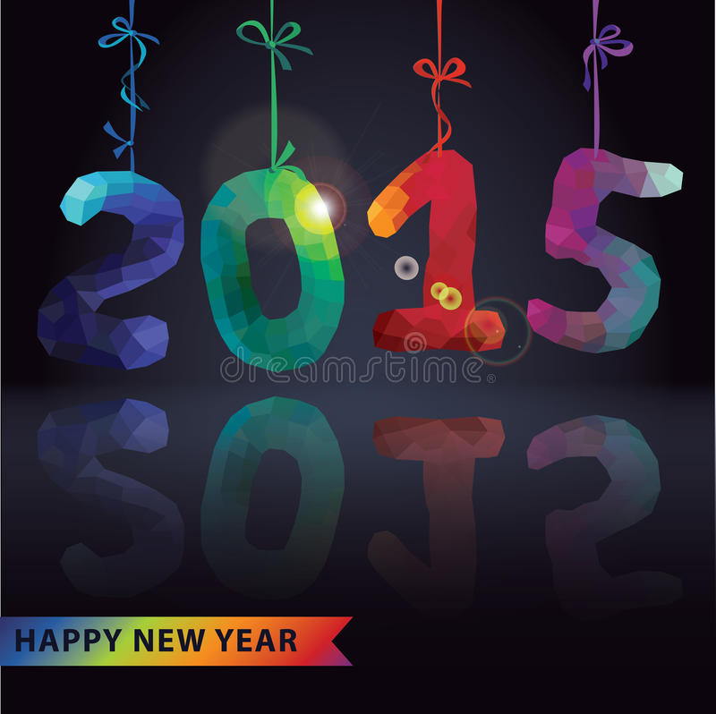 Multicolor polygons numbers hang on ribbons.New year 2015 royalty free illustration