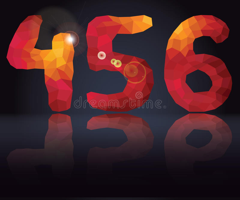 Multicolor polygons numbers 4,5,6 with mirror reflection vector illustration