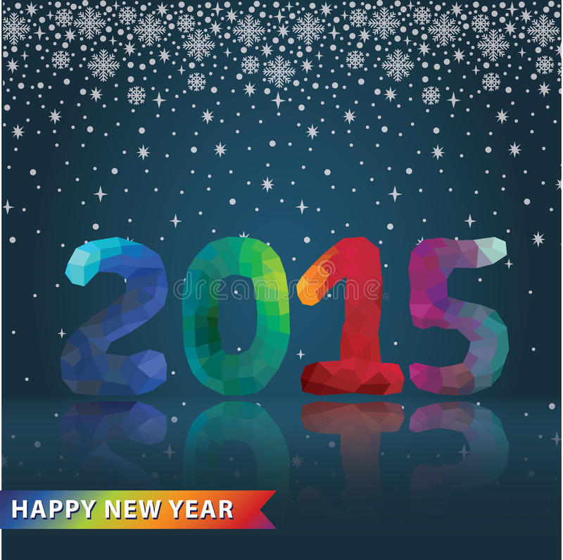 Multicolor polygons numbers with snowfall.New year 2015 vector illustration
