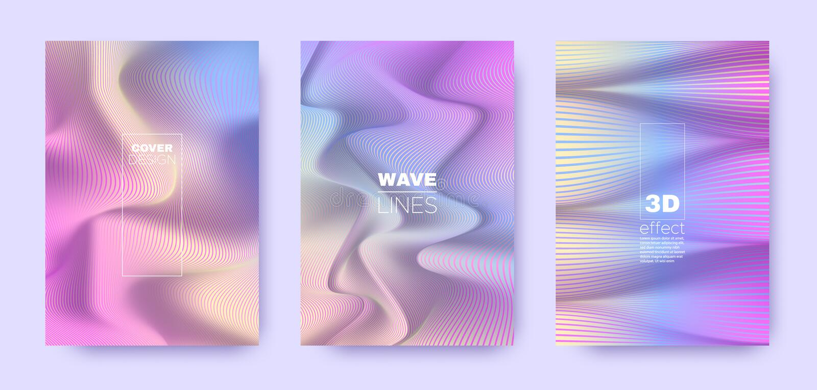 Multicolor Poster. Rainbow 3d Lines Banner. royalty free illustration
