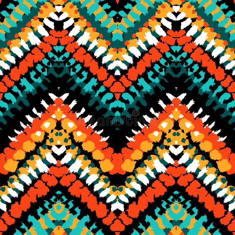 Multicolor ręka rysujący wzoru zygzag ilustracja wektor