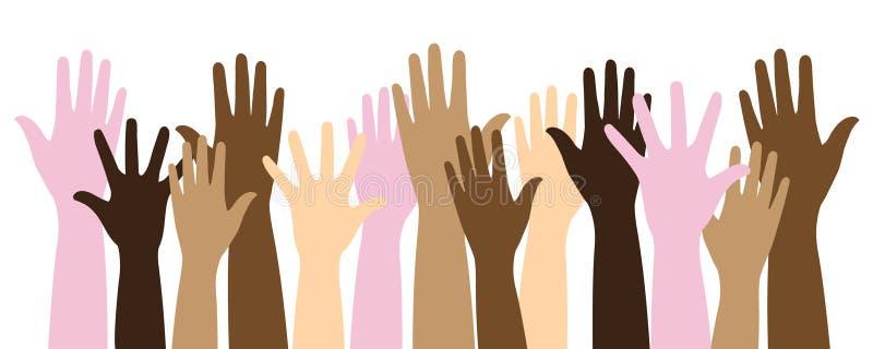 Multicolor raised hands vector illustration