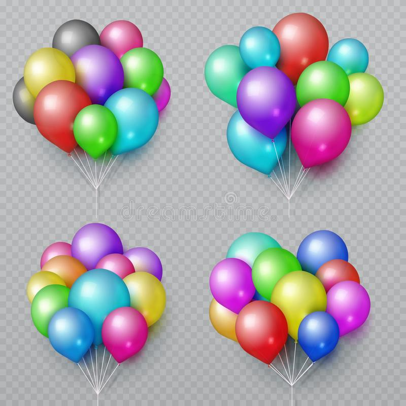 Multicolor realistic balloon bunches . Wedding and birthday party decoration vector elements. Set of color air balloon bunch illustration stock illustration