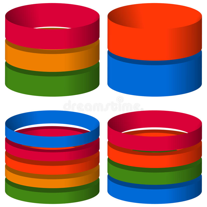 Multicolor segmented 3d cylinders, cylinder icons. Elements for stock illustration