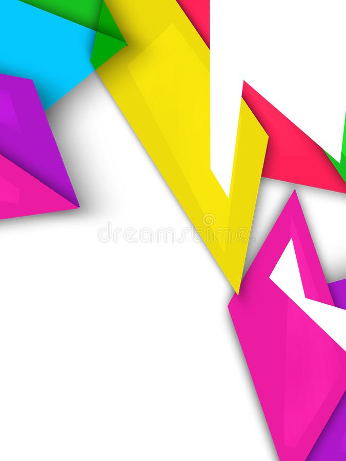Multicolor shapes overlap abstract background. Vertical creative background stock illustration
