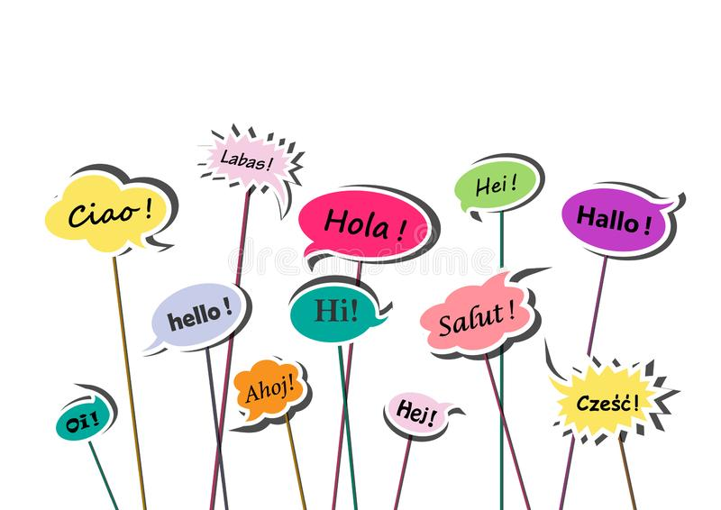 Multicolor speech bubbles with greetings in various European languages isolated on the white background, vector illustr. Multicolor speech bubbles with greetings vector illustration