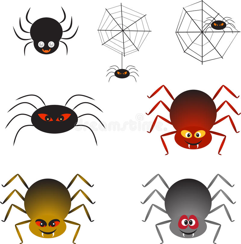 Multicolor Spiders and Spider Webs, Spider Vectors. Multicolor isolated spiders illustrations and spider webs royalty free illustration