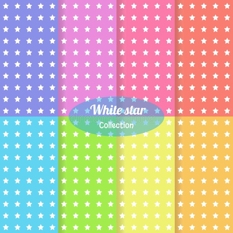 Set multicolor background white star template seamless pattern. Cute kids star seamless pattern. Babies stile. Vector illustration. Multicolor star template stock illustration