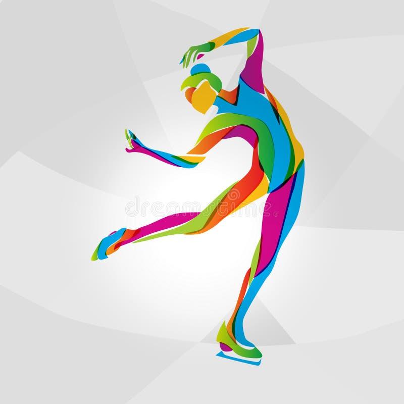 Multicolor sylwetka jazda na łyżwach dziewczyna royalty ilustracja