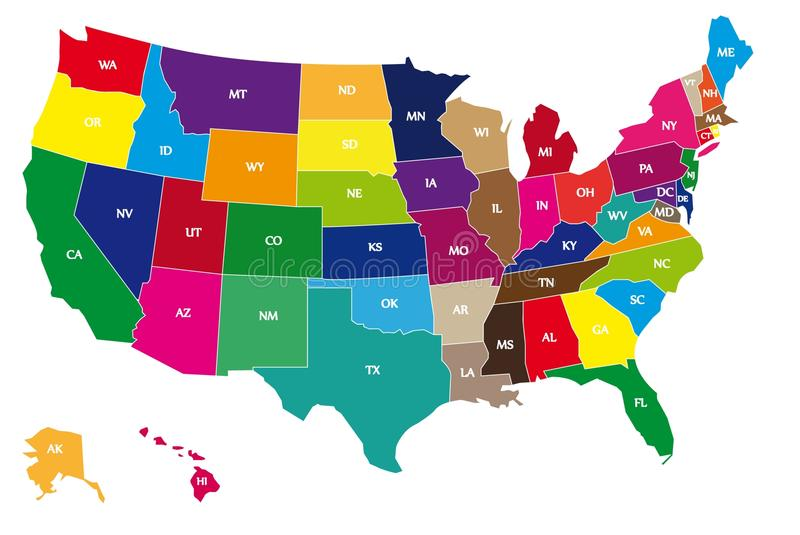Multicolor USA Bordering Map on White Background. Multicolor Bordering Geographical Map of USA with Bordering Lines and Two-Letter Abbreviations of Every US royalty free illustration
