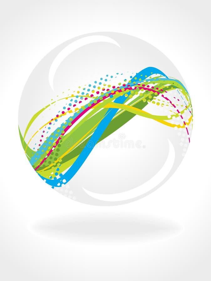 multicolor vektorwave för abstrakt boll 3d royaltyfri illustrationer