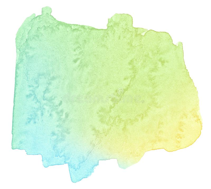 Multicolor watercolor in pastel colors with a smooth transition of the gradient. Isolated place with divorces and borders. stock photography
