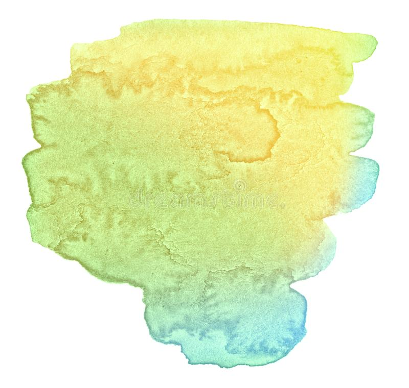 Multicolor watercolor in pastel colors with a smooth transition of the gradient. Isolated place with divorces and borders. royalty free stock image