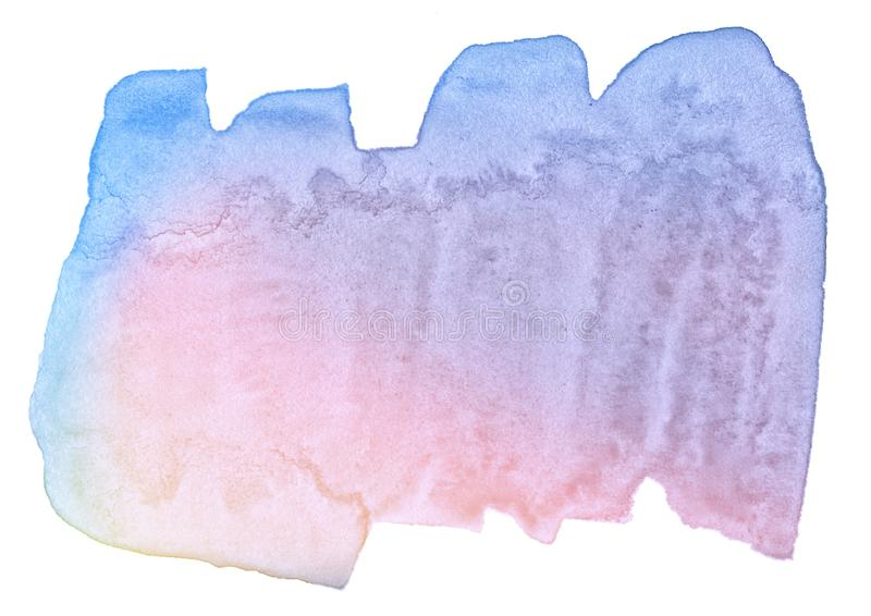 Multicolor watercolor in pastel colors with a smooth transition of the gradient. Isolated place with divorces and borders. stock photos