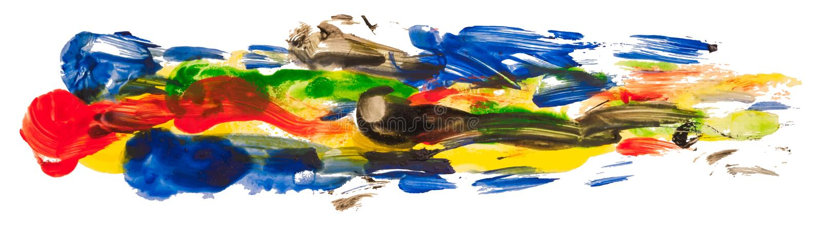 Multicolor watercolor texture long paint stain brush stroke. vector illustration