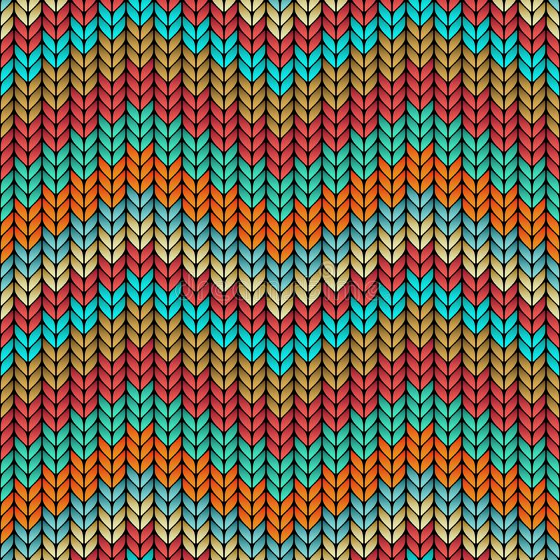 Multicolor Zigzag Knitted Seamless Pattern Stock Illustration