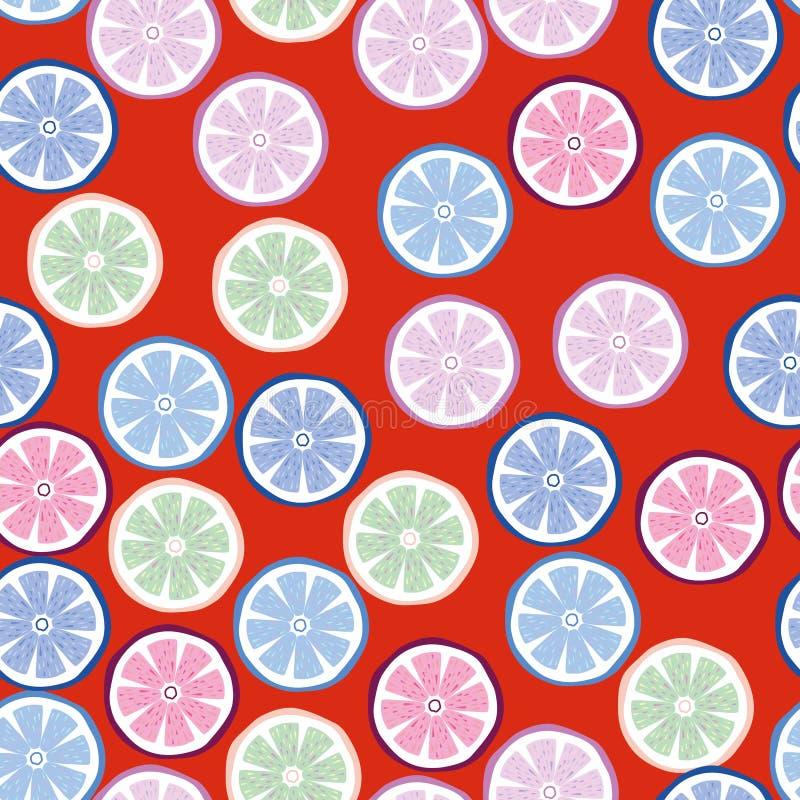 Multicolor-Zitrone-nahtloser roter Hintergrund lizenzfreie abbildung