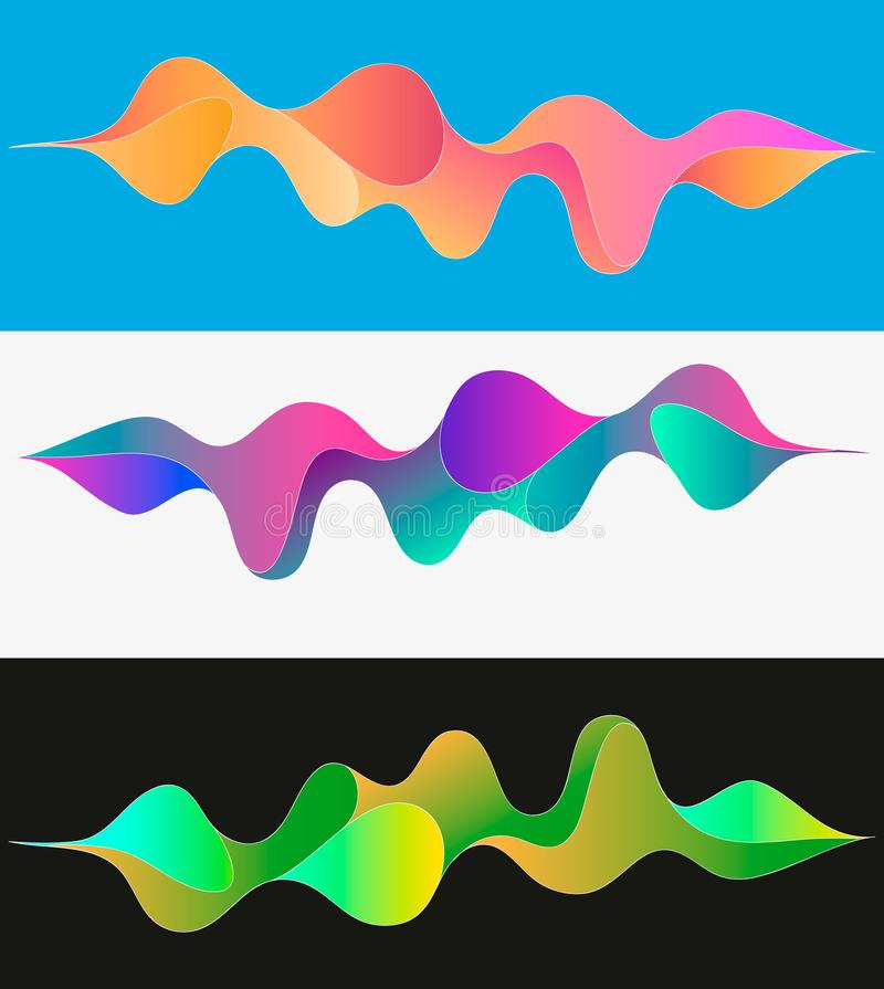 Multicolored abstract fluid sound wave. Vector illustration royalty free illustration