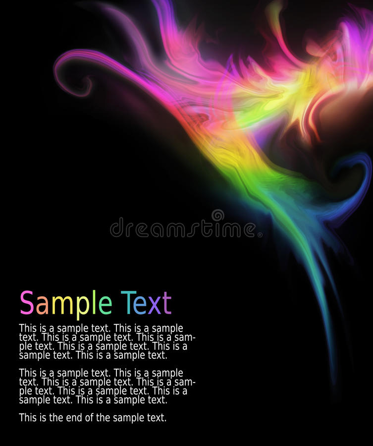 Multicolored abstract wave design. On a black background. Sample text can be removed