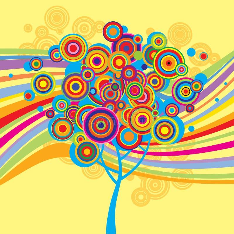 Multicolored achtergrond met een boom stock illustratie