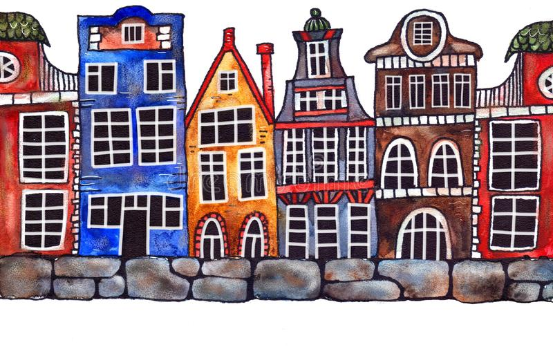 Amsterdam houses on the seafront watercolor cartoon. Multicolored Amsterdam houses on the seafront watercolor cartoon royalty free illustration