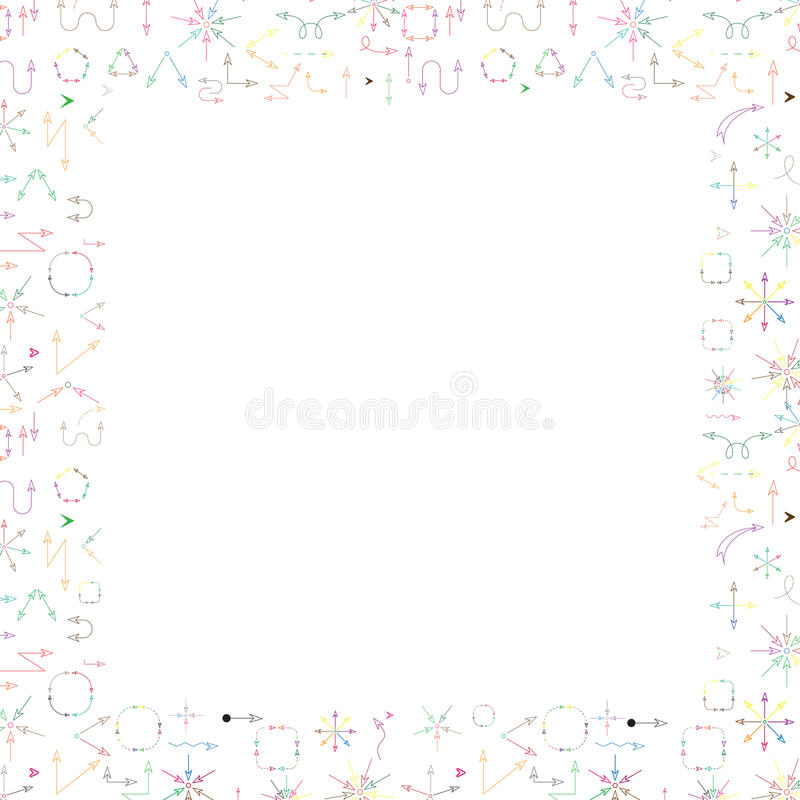 Multicolored arrows abstract background whith border frame for text. stock images
