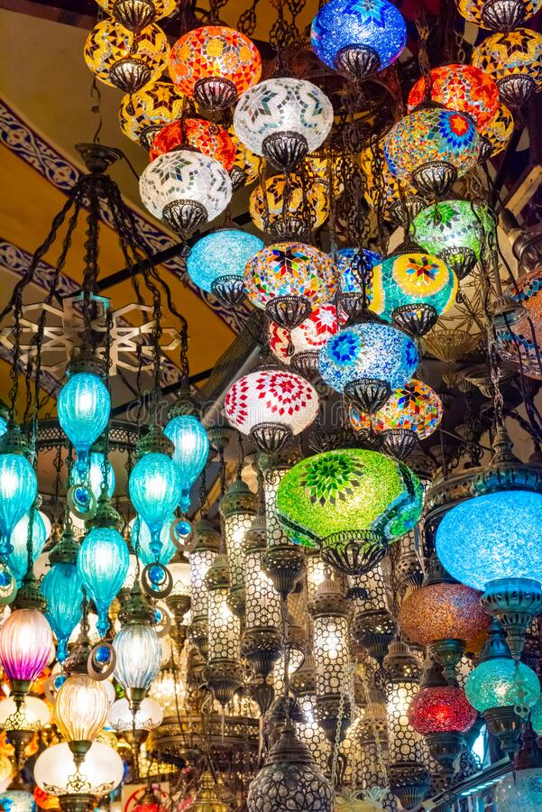 Multicolored authentic lamps Grand Bazaar in Istanbul stock image