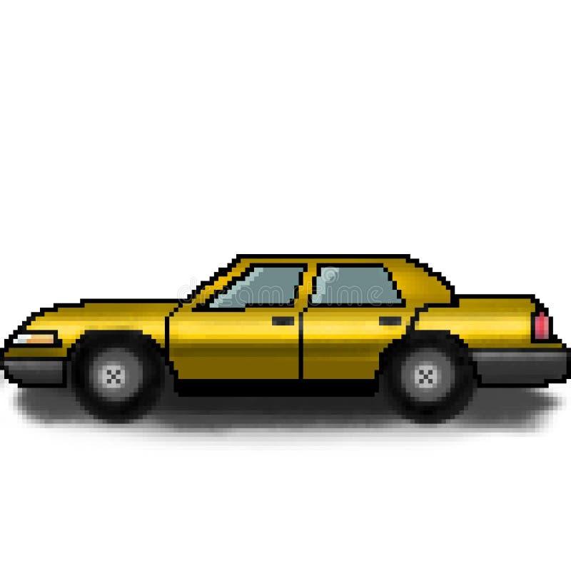 Multicolored auto met 8 bits van de pixel de getrokken passagier stock afbeelding