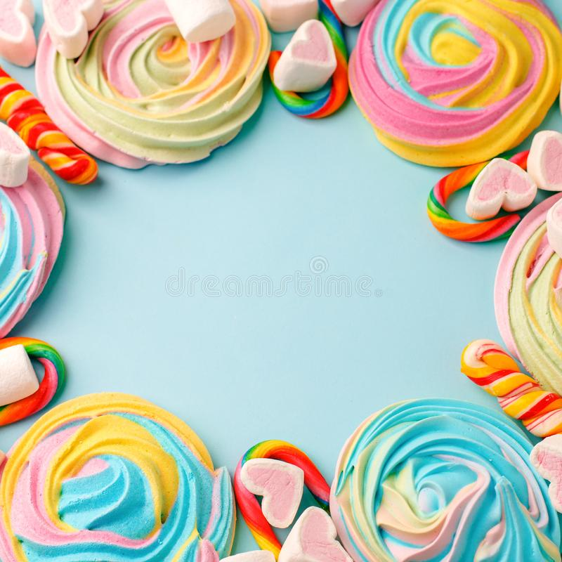 Multicolored background made of various colorful candies. Space for text, party, candy bar, childhood, birthday concept.  royalty free stock image