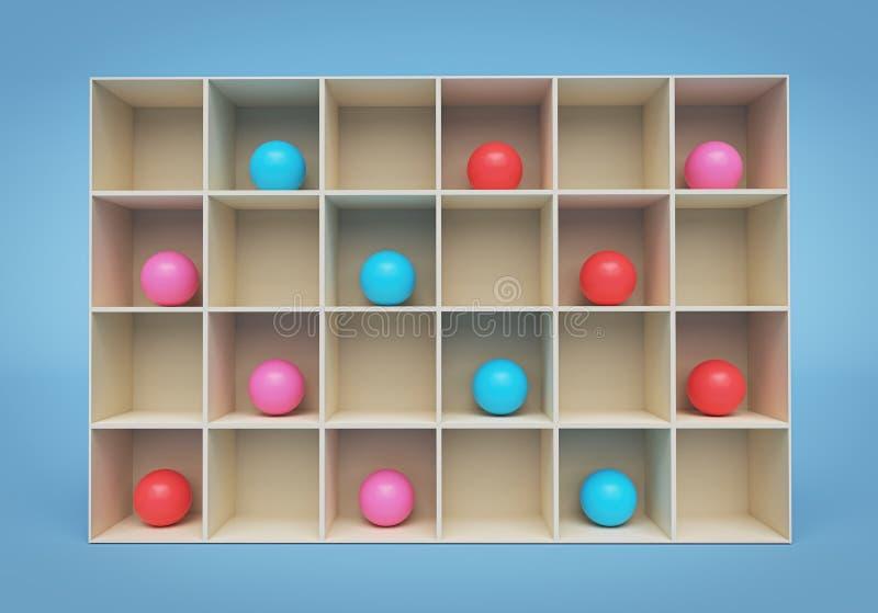 Multicolored ballen op een plank het 3d teruggeven stock illustratie