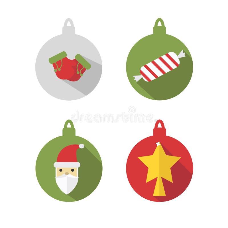 Multicolored ballen voor Kerstboom, op een witte achtergrond wordt geïsoleerd die De wintervakantie en Vieringenconcept Vector stock illustratie