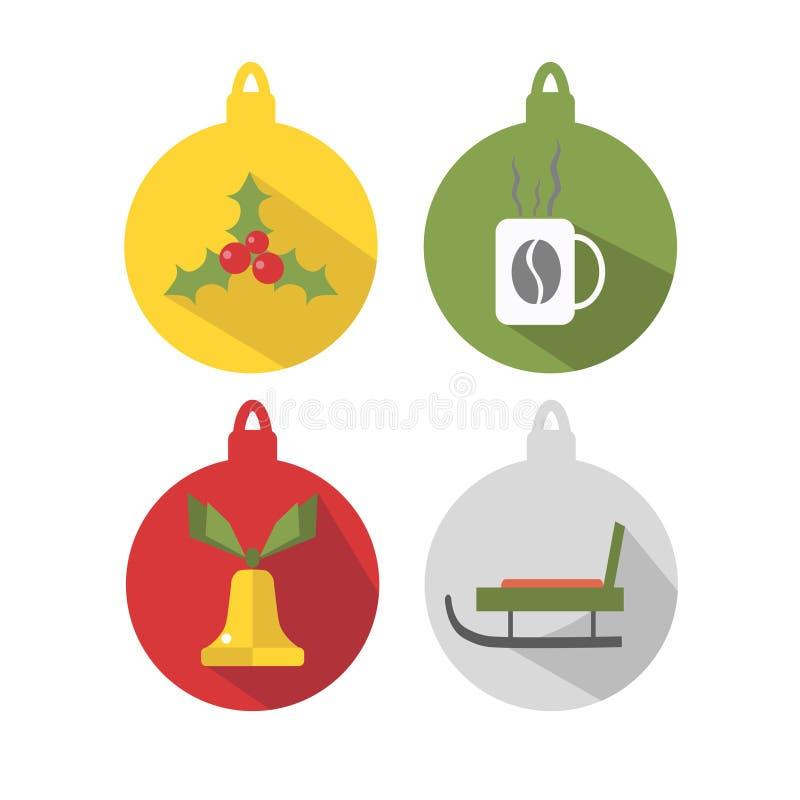 Multicolored ballen voor Kerstboom, op een witte achtergrond wordt geïsoleerd die De wintervakantie en Vieringenconcept Vector vector illustratie