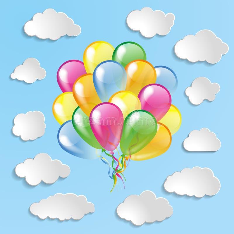 Multicolored ballons met wolkeninzameling op blauwe bedelaars royalty-vrije illustratie