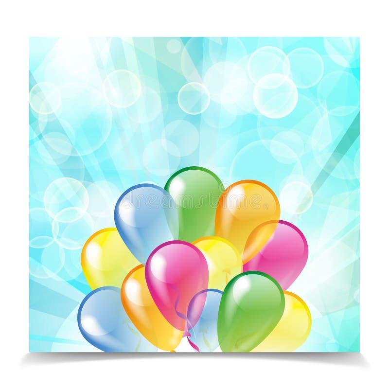 Multicolored ballons op een blauw borrelt achtergrond stock illustratie
