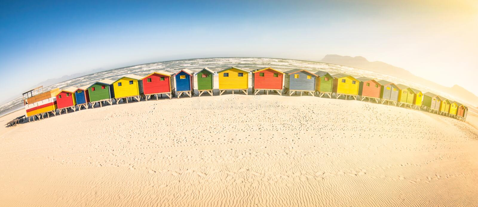 Multicolored beach huts at St James seaside near Cape Town stock photos