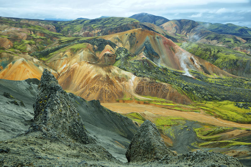 Multicolored bergen in Landmannalaugar, stock afbeeldingen