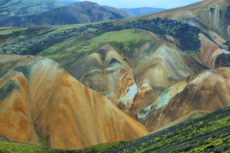 Multicolored bergen in Landmannalaugar, stock fotografie