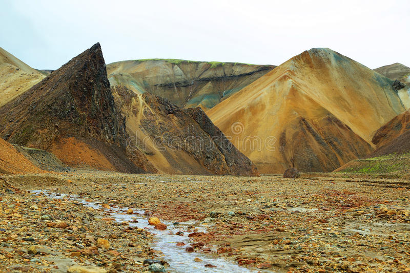 Multicolored bergen in Landmannalaugar, royalty-vrije stock afbeeldingen
