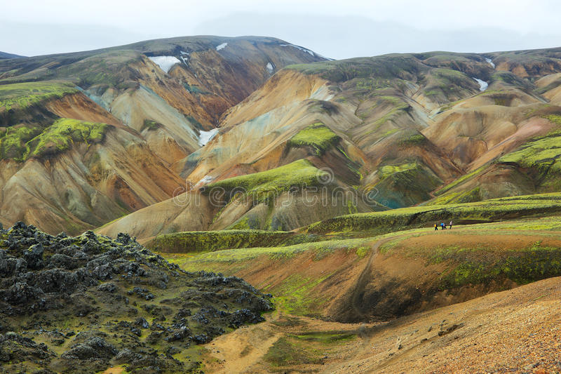 Multicolored bergen in Landmannalaugar, royalty-vrije stock foto
