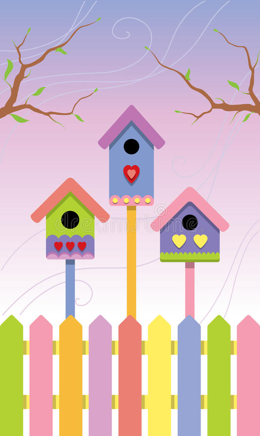Download Multicolored Birdhouses On Spring Background Stock Vector - Illustration: 14164992