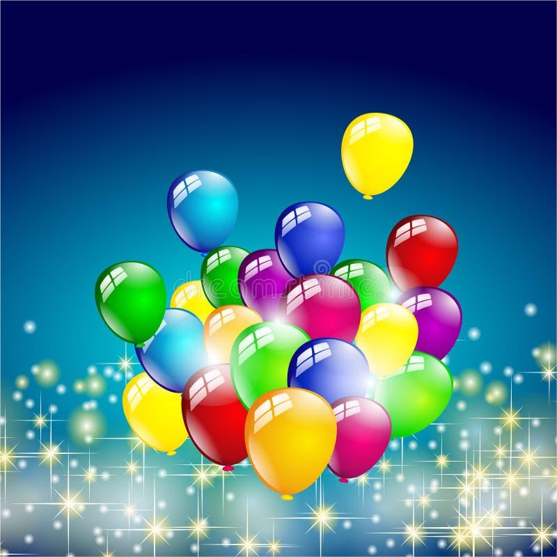 Multicolored birthday balloons party stock illustration