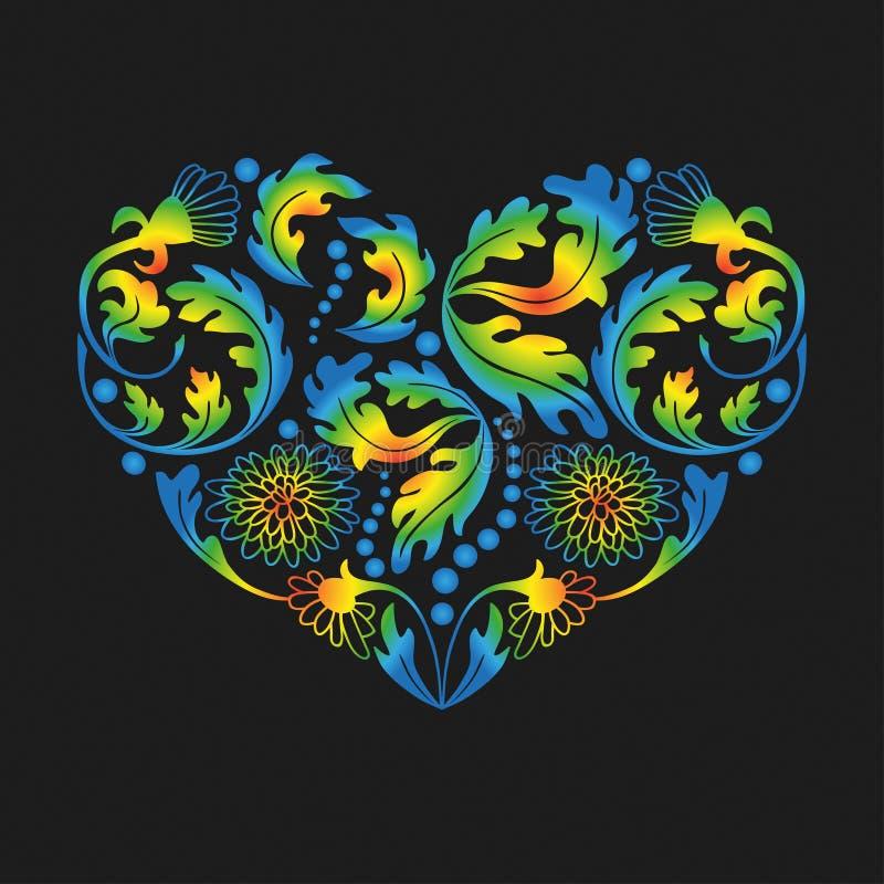 Multicolored Bloemenhart op Zwarte Achtergrond, illustrati royalty-vrije illustratie