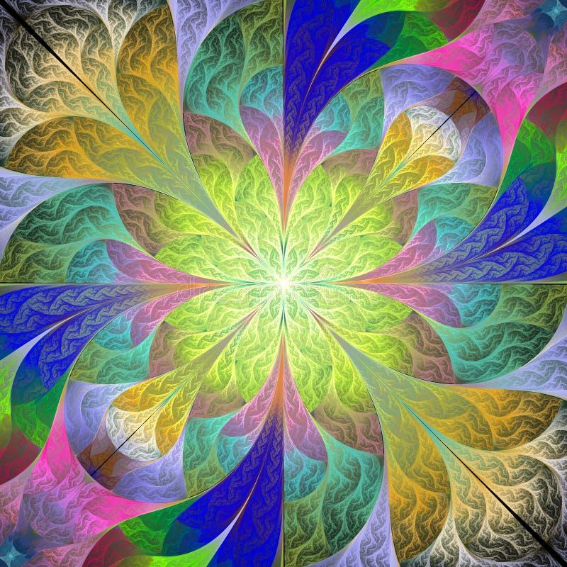 Multicolored bloempatroon in mozaïekstijl U kunt het voor uitnodigingen, notitieboekjedekking, telefoongevallen, prentbriefkaaren stock illustratie