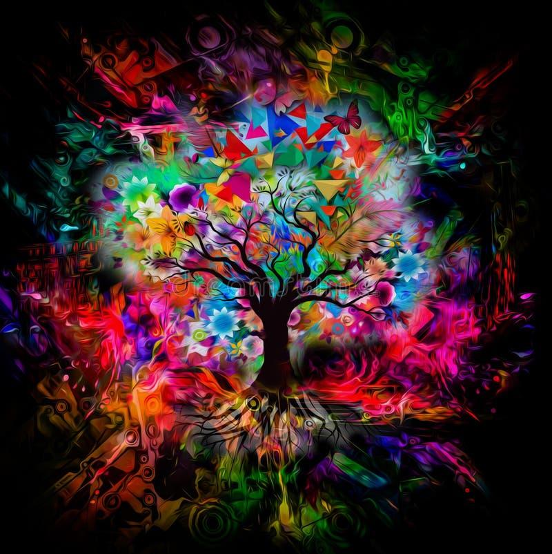 Multicolored Boom met vlinders stock illustratie