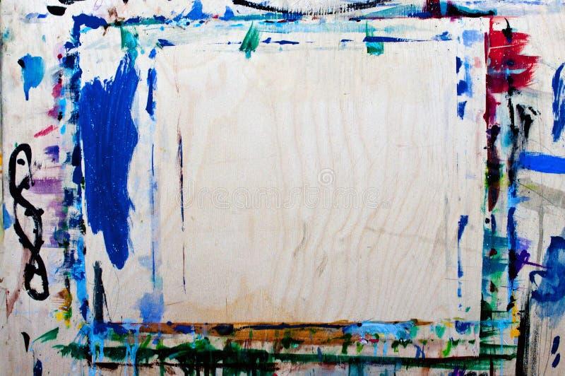 Multicolored borstelslagen met olie op canvas Achtergrond stock afbeelding