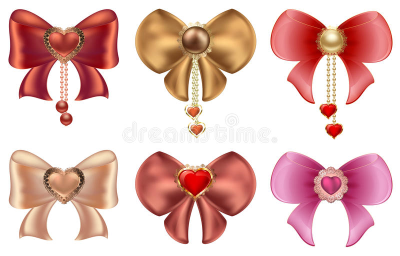 Multicolored bows with hearts and pearl jewelry. Red and gold hearts with vintage ornaments and bows vector illustration